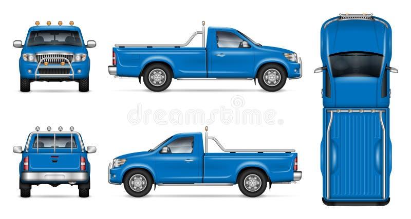 Realistisch Blauw Pick-up Vectorprototype vector illustratie