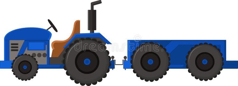 Realistisch blauw tractorpictogram, embleem, vorm met grote wielen die met rook op witte achtergrond wordt geïsoleerd vector illustratie