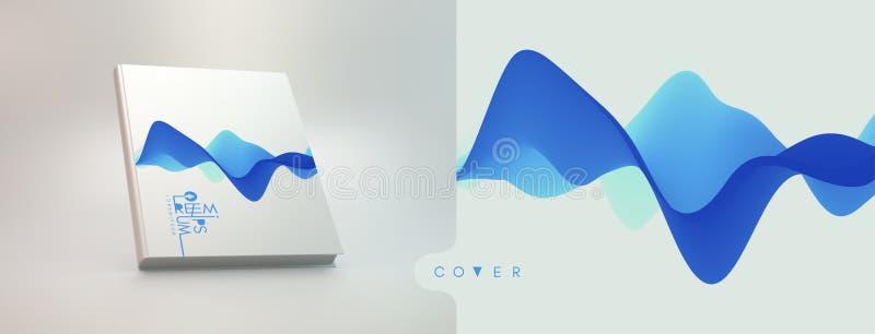 Realistisch boekmodel Het malplaatje van het dekkingsontwerp 3D golvende achtergrond met dynamisch effect Vectorillustratie voor  royalty-vrije illustratie