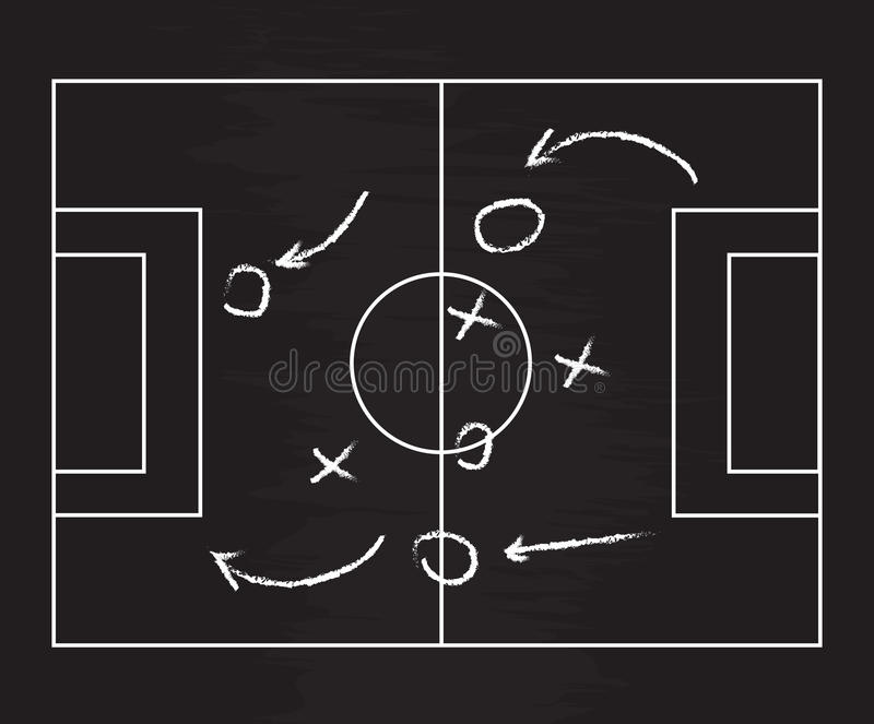 Realistisch bord die een voetbal of voetbalspelstrategie trekken Vector illustratie royalty-vrije illustratie
