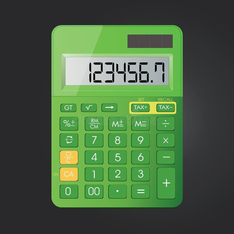 Realistisch calculator vectordiepictogram op zwarte achtergrond wordt geïsoleerd stock illustratie