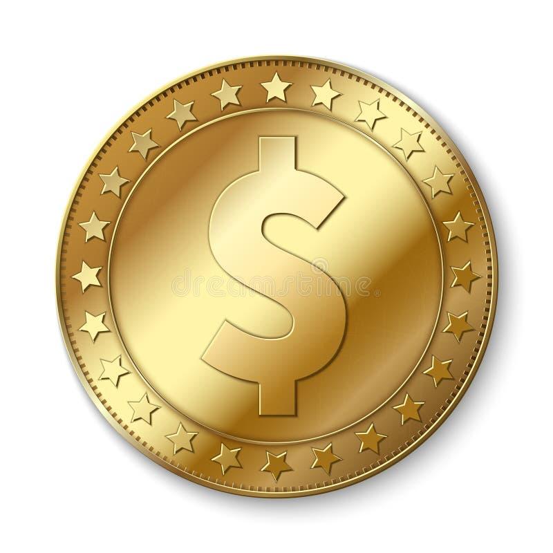 Realistisch 3d gouden dollar vectordiemuntstuk op wit wordt geïsoleerd Het symbool van de contant geldovervloed stock illustratie