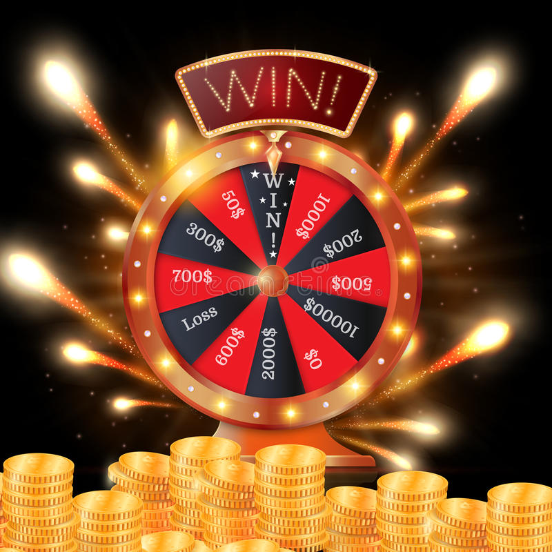 Realistisch 3d spinnend fortuinwiel, gelukkige roulette vectorillustratie stock illustratie