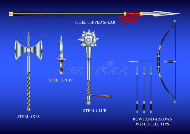 Realistisch 3d Vastgesteld Staal het vechten wapen royalty-vrije illustratie