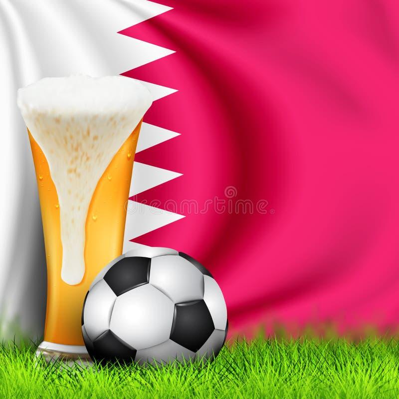 Realistisch 3d Voetbalbal en Glas bier op gras met nationale golvende Vlag van QATAR Ontwerp van een modieuze achtergrond voor royalty-vrije illustratie