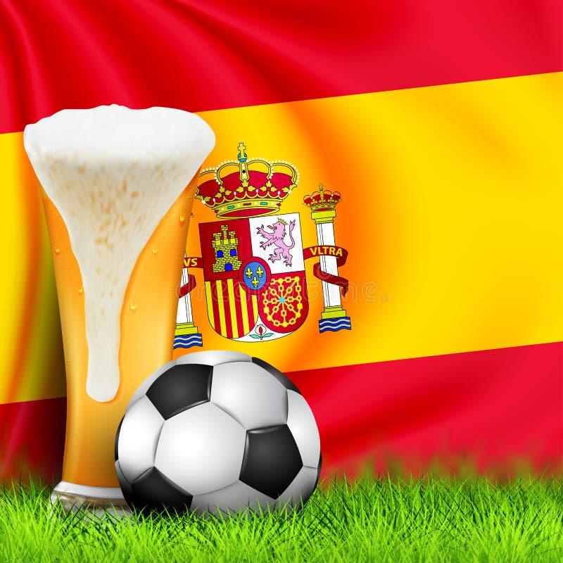 Realistisch 3d Voetbalbal en Glas bier op gras met nationale golvende Vlag van SPANJE Ontwerp van een modieuze achtergrond voor stock fotografie