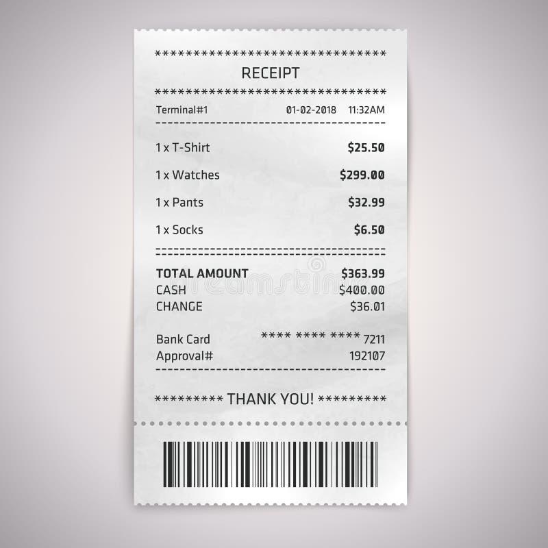 Realistisch document winkelontvangstbewijs met streepjescode royalty-vrije illustratie