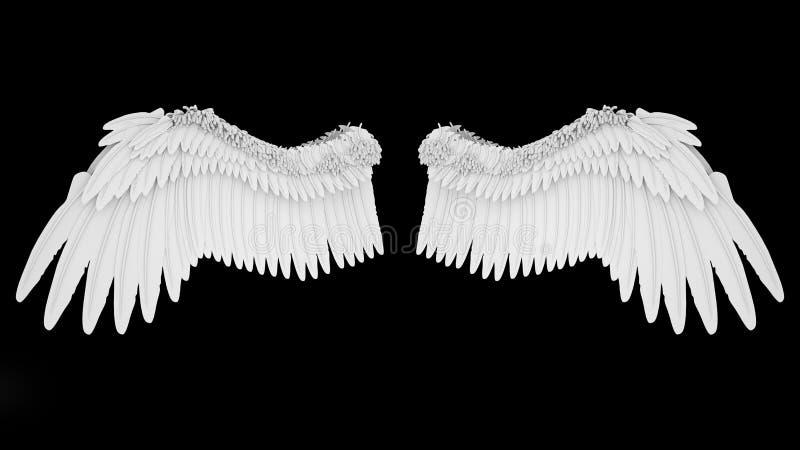 Realistisch elegante witte engel vleugels geïsoleerd op zwarte achtergrond, 3D rendering royalty-vrije illustratie