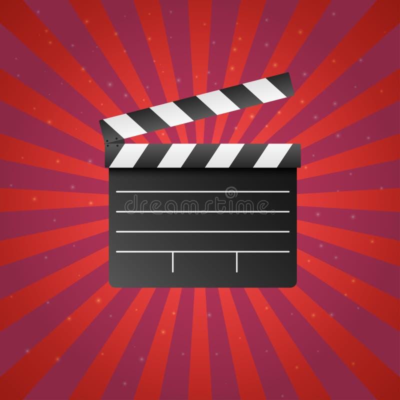 Realistisch film en film clapperboard pictogram op rode achtergrond met zonstralen en sterren Van de de bioskooplei van het kunst vector illustratie