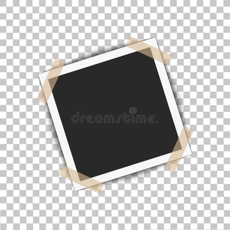 Realistisch fotokader met schaduwspeld op kleverige band Vectorillustratie op transparante achtergrond klaar voor uw ontwerp royalty-vrije illustratie
