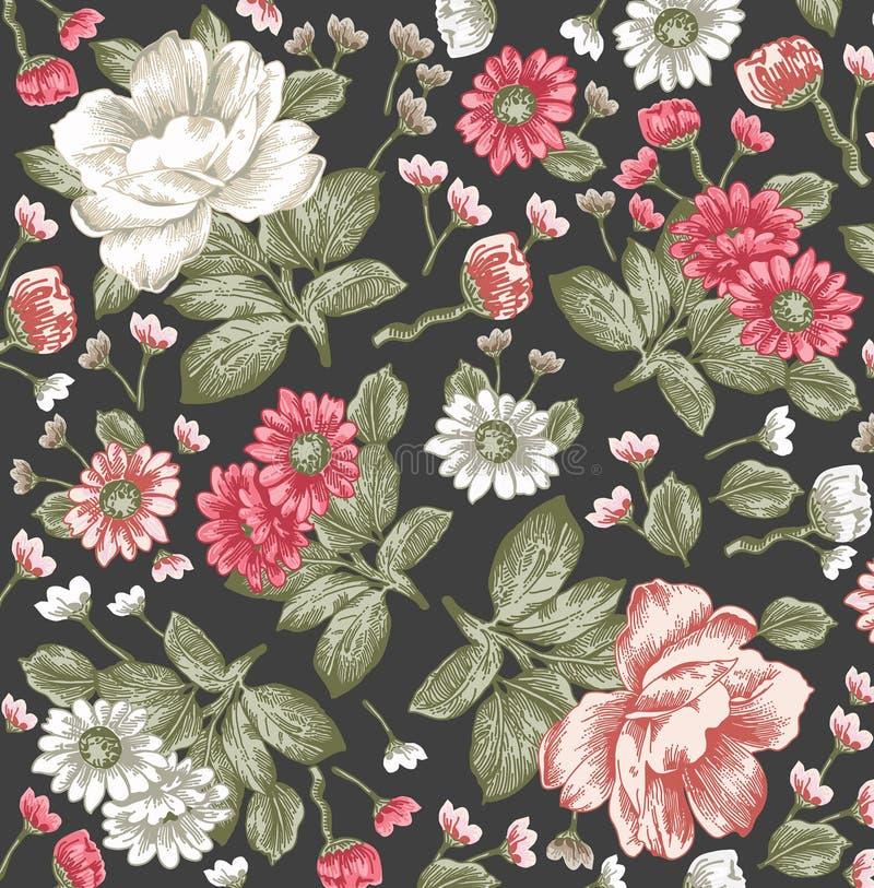 Realistisch geïsoleerd bloemenpatroon Uitstekende barokke achtergrond Kamille, pioenen behang Tekeningsgravure Victorian vector royalty-vrije illustratie