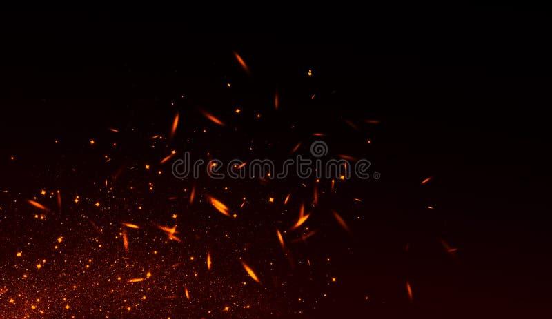 Realistisch geïsoleerd brandeffect voor decoratie en het behandelen op zwarte achtergrond Concept deeltjes, fonkelingen, vlam en  vector illustratie