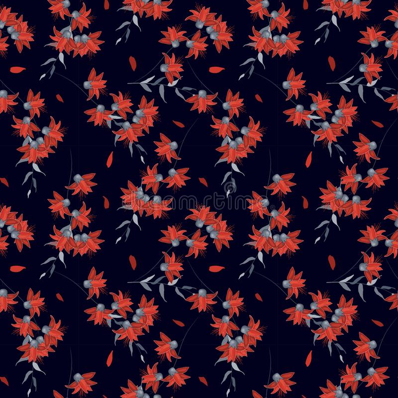 Realistisch geïsoleerd naadloos bloemenpatroon uitstekende reeks Hand getrokken vectorillustratie Abstracte bloementekening vector illustratie