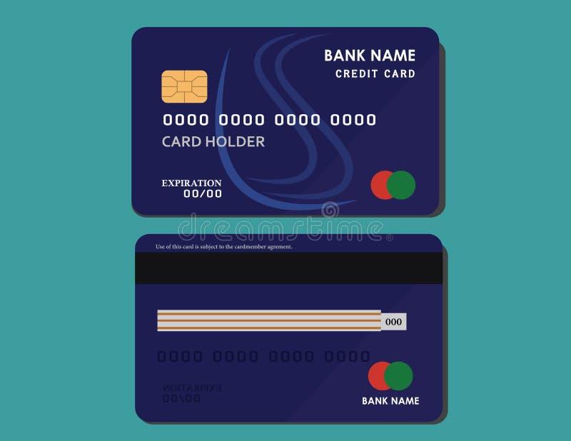 Realistisch gedetailleerd creditcardmalplaatje op donkerblauwe achtergrond stock foto