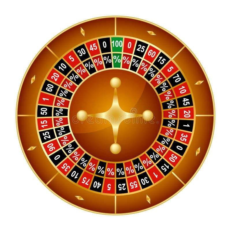 Realistisch Gedetailleerd Wielgeluk die Lucky Roulette Gambling Game in Casino spinnen Vectorillustratie van Successymbool royalty-vrije illustratie