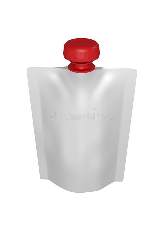 Realistisch geef van wit plastic pakket voor kinderen met rood klein deksel terug Met schaduw en het knippen weg op een witte ach stock illustratie