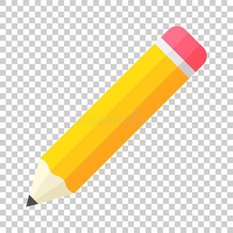 Realistisch geel houten potlood met rubbergompictogram in vlak s vector illustratie