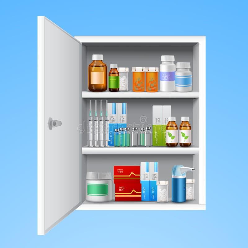 Realistisch geneeskundekabinet vector illustratie