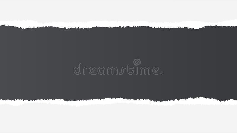 Realistisch gescheurd open document met ruimte voor tekst op zwarte achtergrond, gaten in document Gescheurde gescheurde strook v royalty-vrije illustratie
