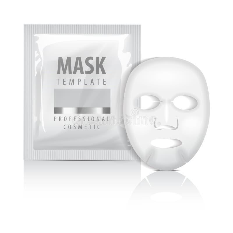 Realistisch gezichtsbladmasker en sachet Lege vectorspot op malplaatje Schoonheidsproduct verpakking op witte achtergrond royalty-vrije illustratie