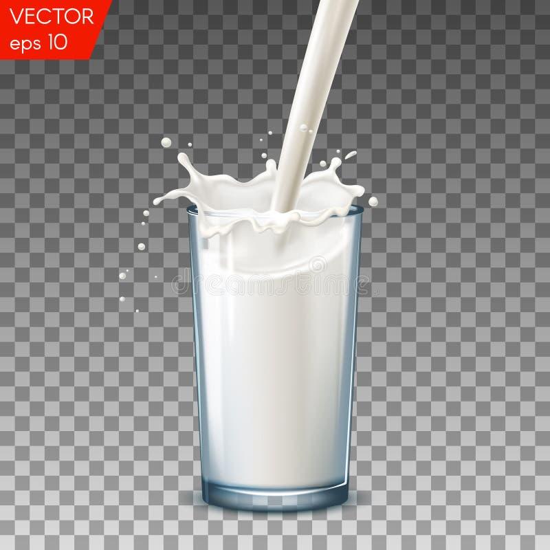 Realistisch glas om melkplons, op een transparante achtergrond te gieten stock illustratie
