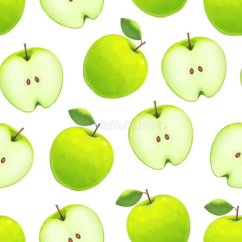 Realistisch Groen Apple-Patroon Als achtergrond op een Wit Vector royalty-vrije illustratie