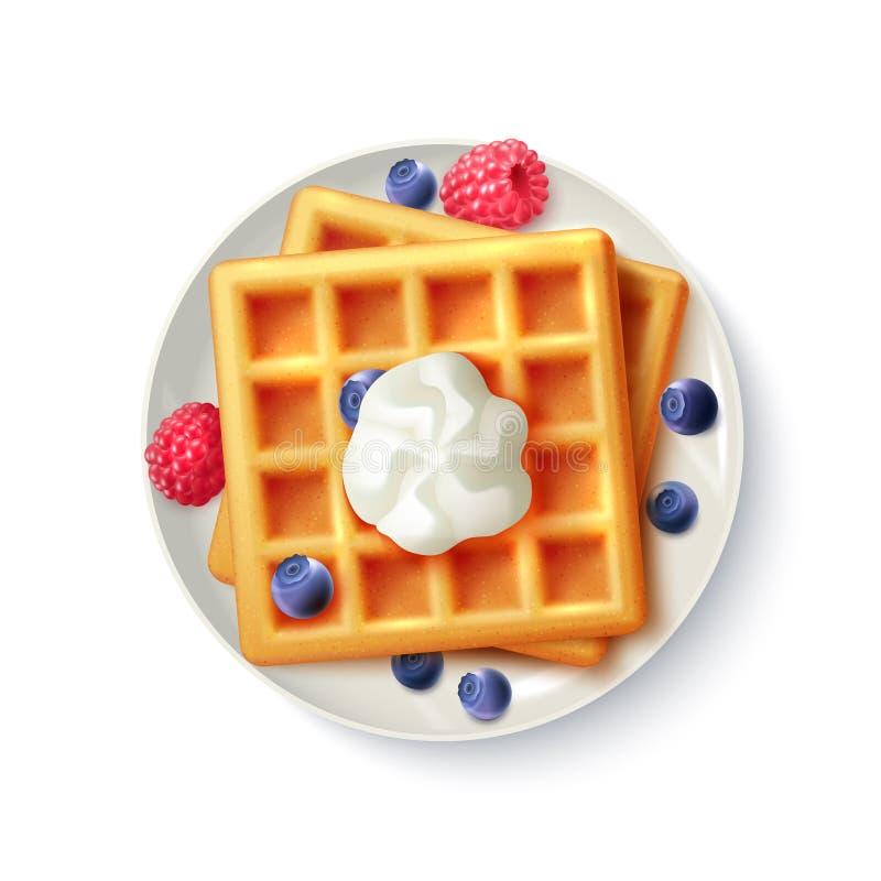 Realistisch Hoogste de Meningsbeeld van ontbijtwafels stock illustratie