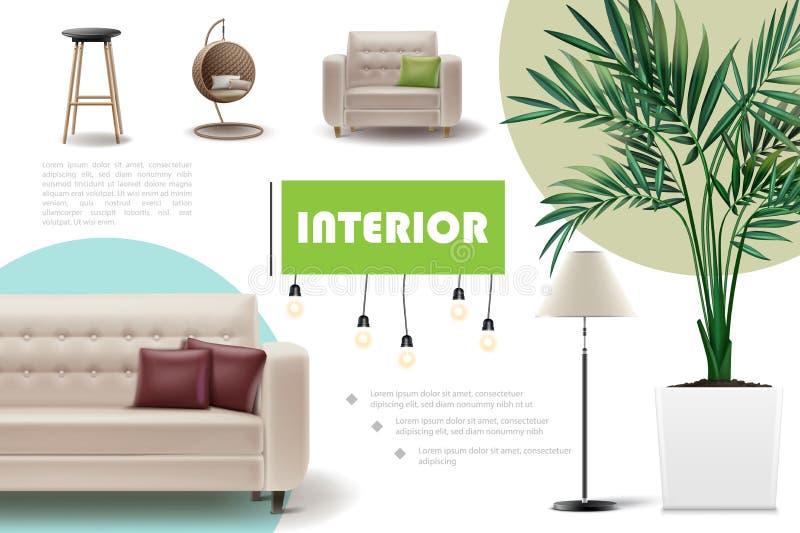 Realistisch Huis Binnenlands Concept royalty-vrije illustratie