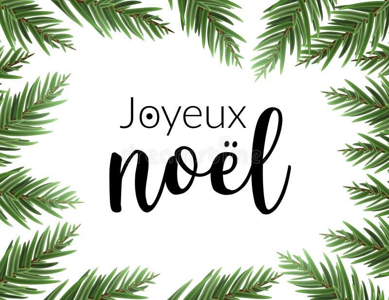 Realistisch Kerstmiskader met spar Van de de pijnboomboom van de Joyeux noel de Franse typografie van letters voorziende kaart va royalty-vrije illustratie