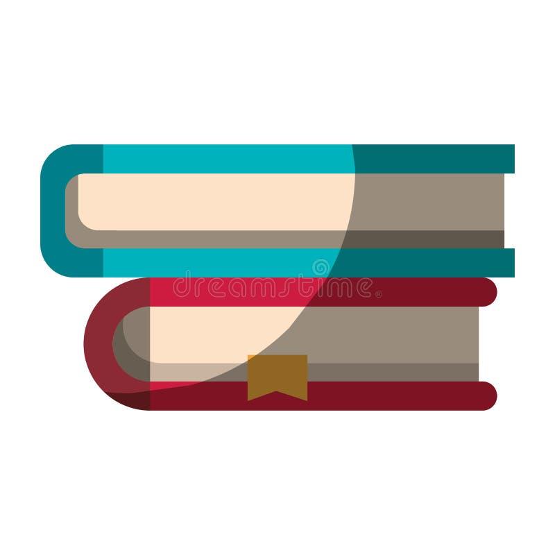 Realistisch kleurrijk in de schaduw stellend beeld van inzameling van boeken met referentie stock illustratie