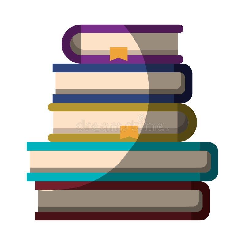 Realistisch kleurrijk in de schaduw stellend beeld van stapel boeken met referentie vector illustratie