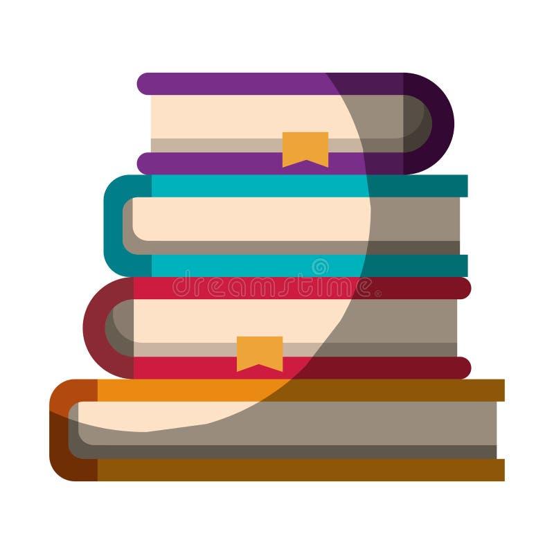 Realistisch kleurrijk in de schaduw stellend beeld van stapelinzameling van boeken met referentie vector illustratie