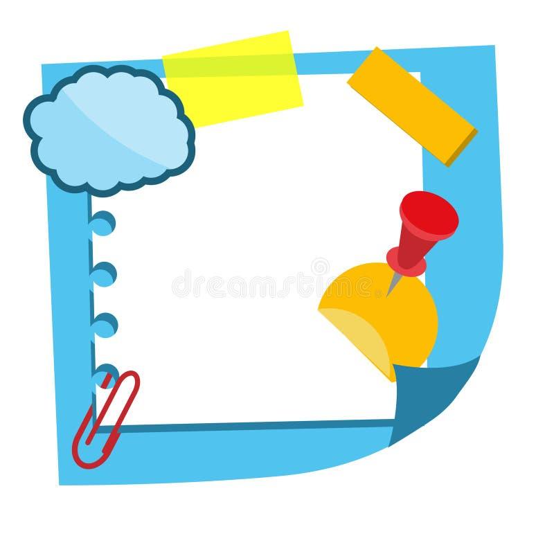 Realistisch kleverig notablad met stickers en decoratieve elementen Document herinnering het hangen met kleefstof Leeg document,  vector illustratie