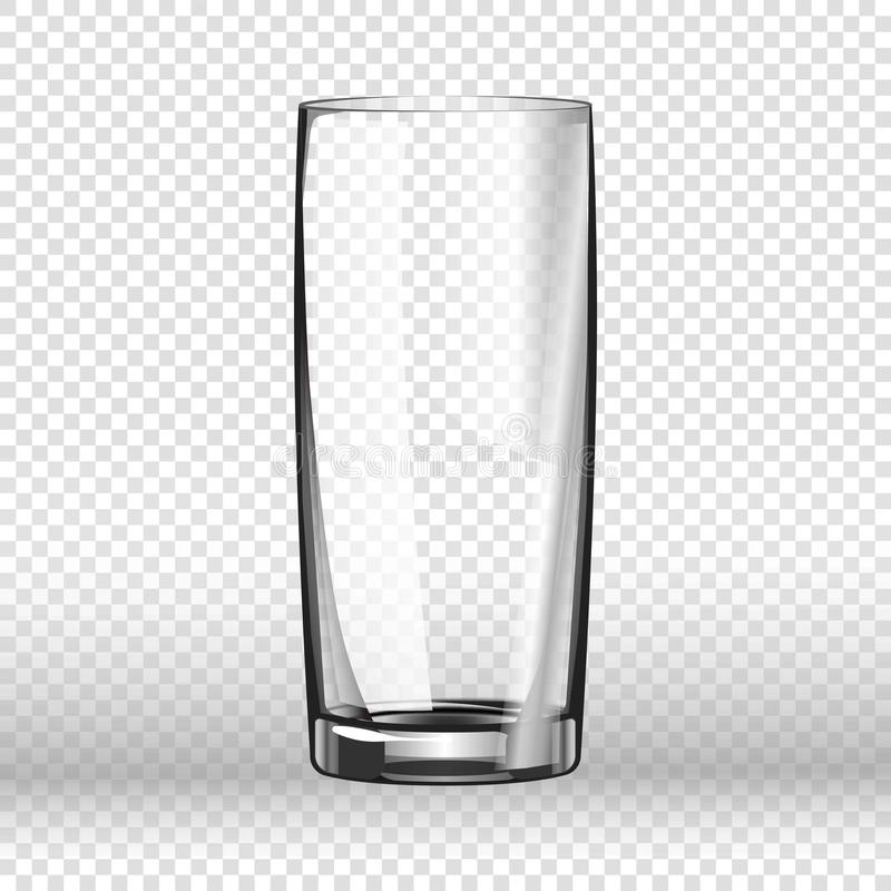 Realistisch lang die het drinken glas op transparante achtergrond wordt geïsoleerd royalty-vrije illustratie