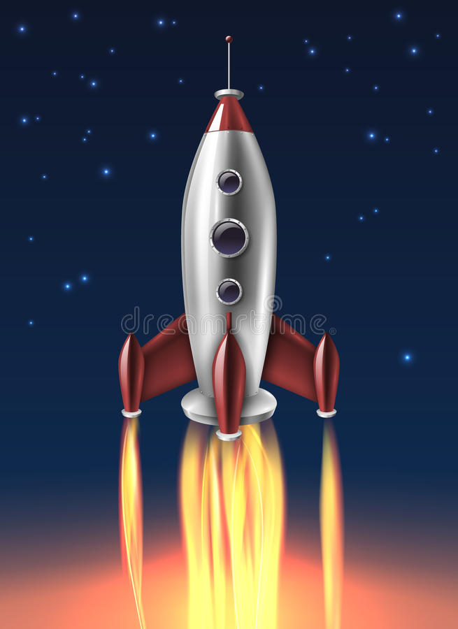 Realistisch Metaal Rocket Launch Background Poster vector illustratie