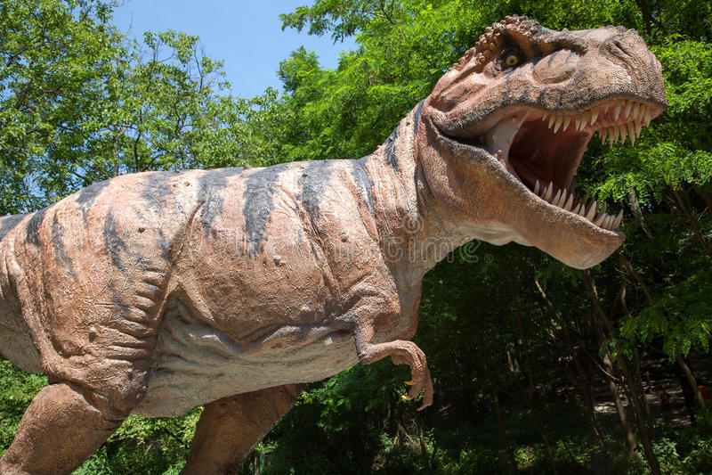 Realistisch model van dinosaurustyrannosaurus Rex stock foto