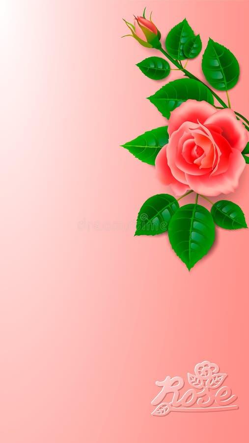 Realistisch nam met knop en artistieke inschrijving toe Lay-outontwerp voor decoratie van kaarten voor de de huwelijksdag of verj vector illustratie