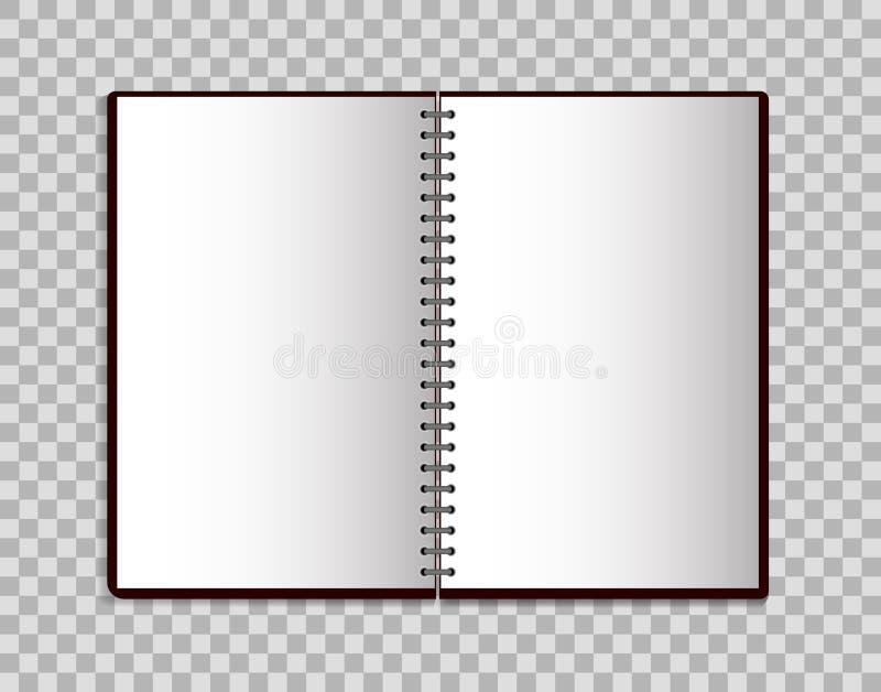 Realistisch notitieboekje in modelstijl Open lege blocnote met spiraal Malplaatje van lege blocnote op geïsoleerde achtergrond Ve stock illustratie