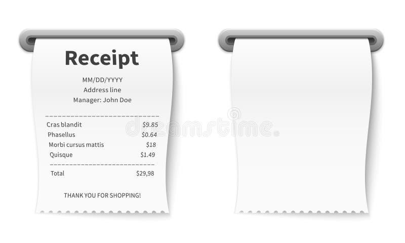 Realistisch ontvangstbewijs Het facturerings het document van de commissie eindtransactie controle in de bankwinkel en supermarkt vector illustratie