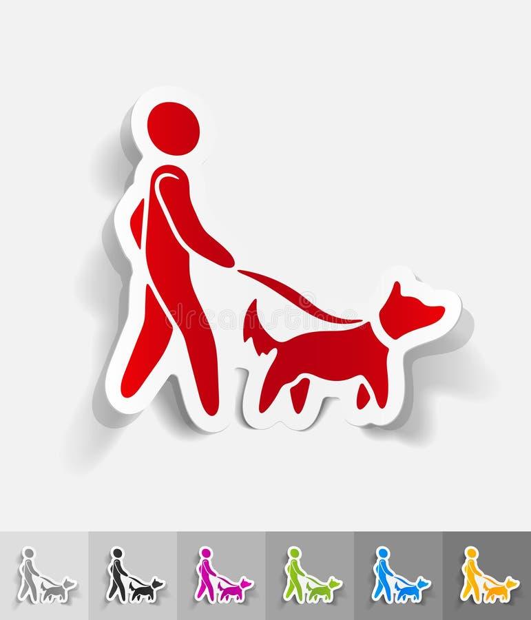 Realistisch ontwerpelement Het lopen van de hond royalty-vrije illustratie