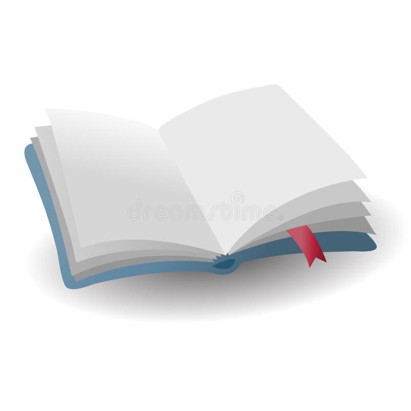 Realistisch open leeg blauw boekpictogram met rode referentie met shado vector illustratie