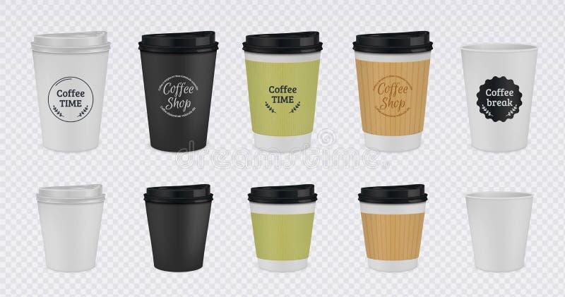 Realistisch papier koffiekopje Verwerpbare plastic en papieren koffieslijm 3D vectorillustratie kleurrijk geïsoleerd royalty-vrije illustratie