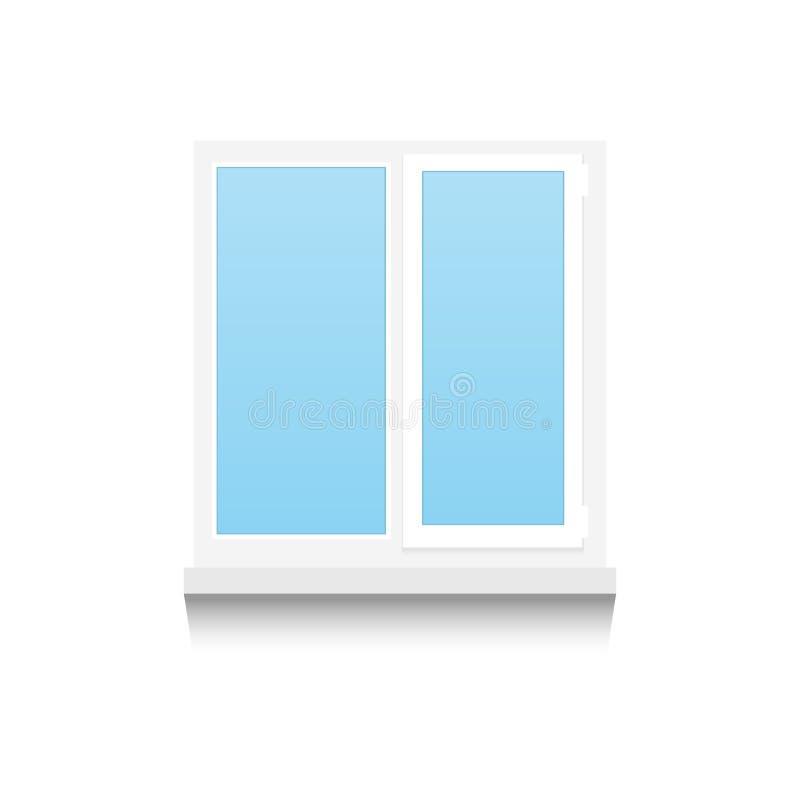 Realistisch Plastic dubbel-gevleugeld venster op witte achtergrond Vector illustratie stock illustratie