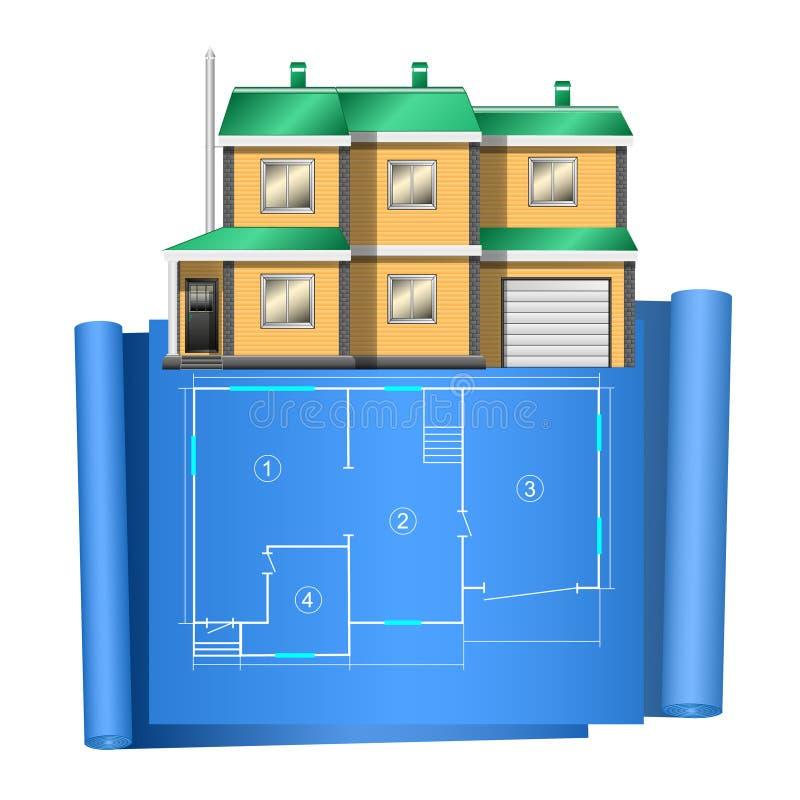 Realistisch plattelandshuisje, privé huis, met het adrawing van plan op blauw document vector illustratie