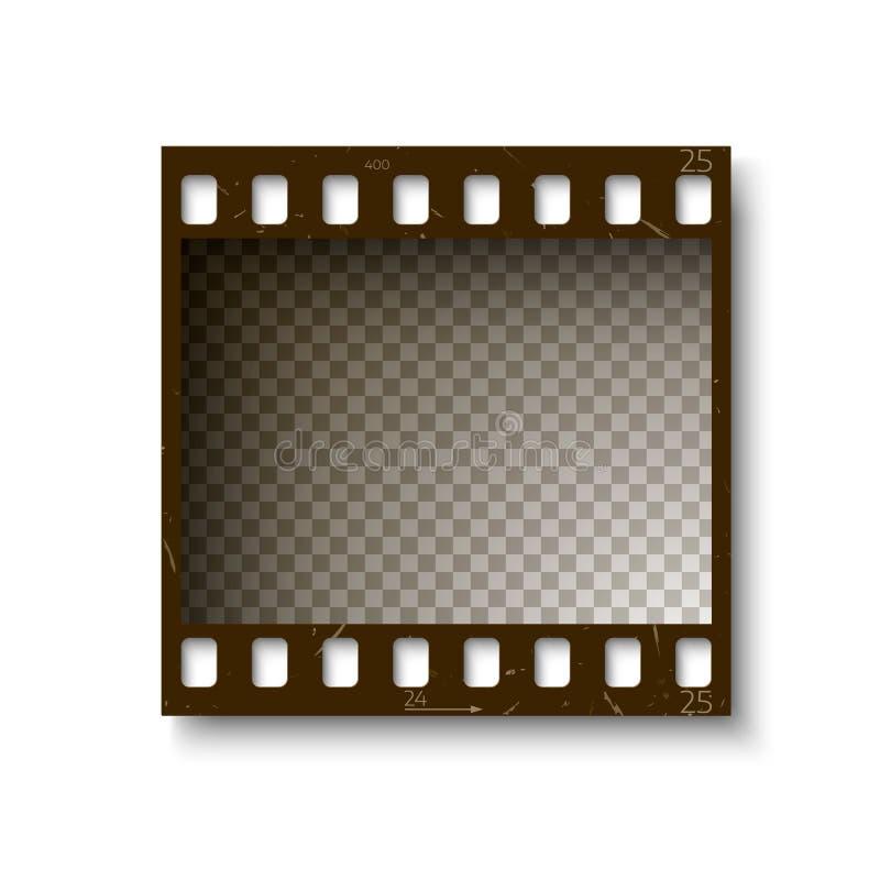 Realistisch retro kader van 35 die mm-filmstrip met schaduw op witte achtergrond wordt geïsoleerd Vector illustratie royalty-vrije illustratie