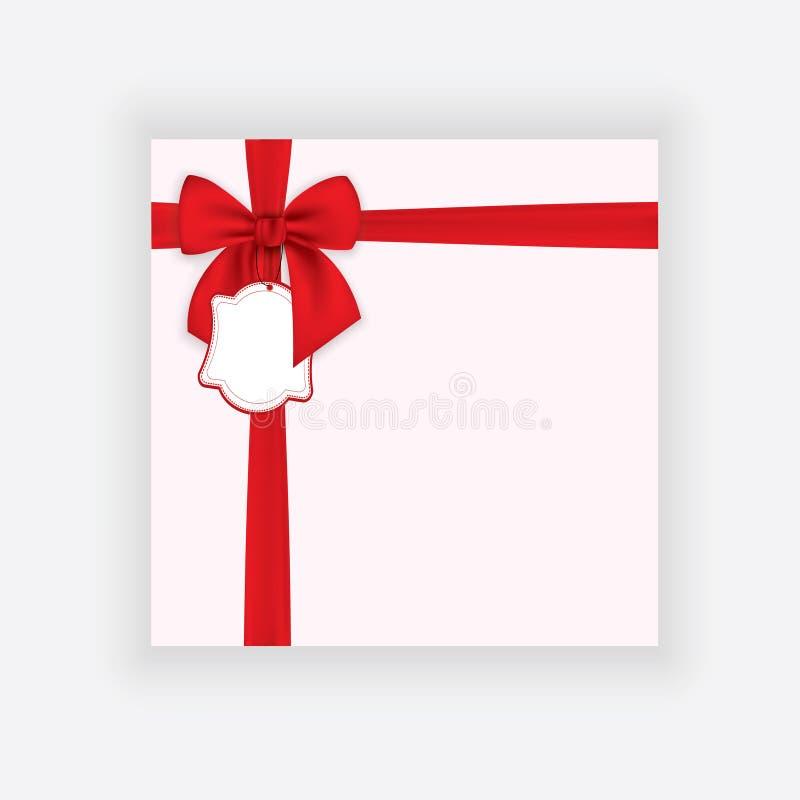 Realistisch rood die boog en lint op transparante achtergrond wordt geïsoleerd Malplaatje voor groetkaart, affiche of brochure Ve stock illustratie