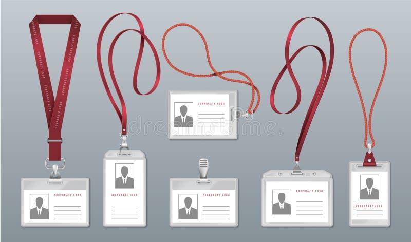 Realistisch sleutelkoordkenteken Werknemersidentificatieplaatje, lege plastic Identiteitskaarthouders met halssleutelkoorden Pers vector illustratie