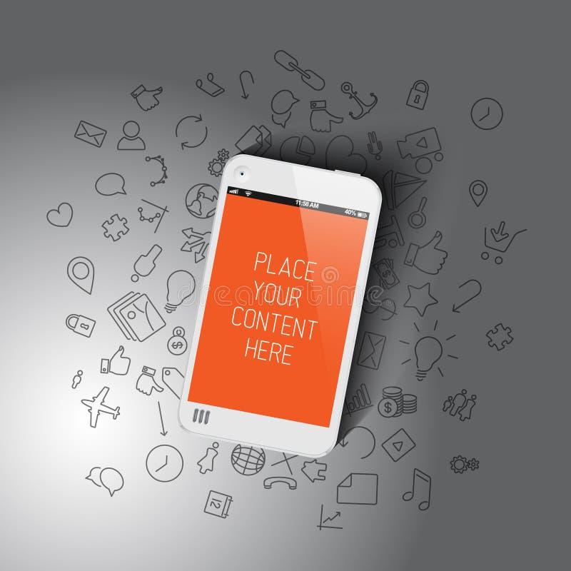 Realistisch smartphonemalplaatje met achtergrondpictogrammen royalty-vrije illustratie