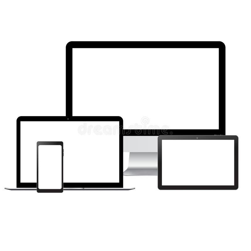 Realistisch TV-laptop van monitorsmartphone en tabletmodel met het witte scherm royalty-vrije illustratie