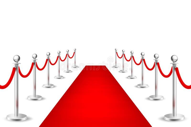 Realistisch vector rood gebeurtenistapijt en zilveren die barrières op witte achtergrond wordt geïsoleerd Ontwerpmalplaatje, clip royalty-vrije illustratie